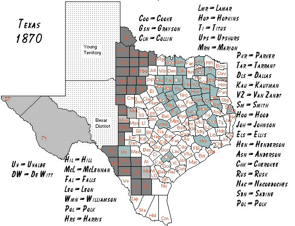 1870 Map Of Texas.Texas 1870 Census