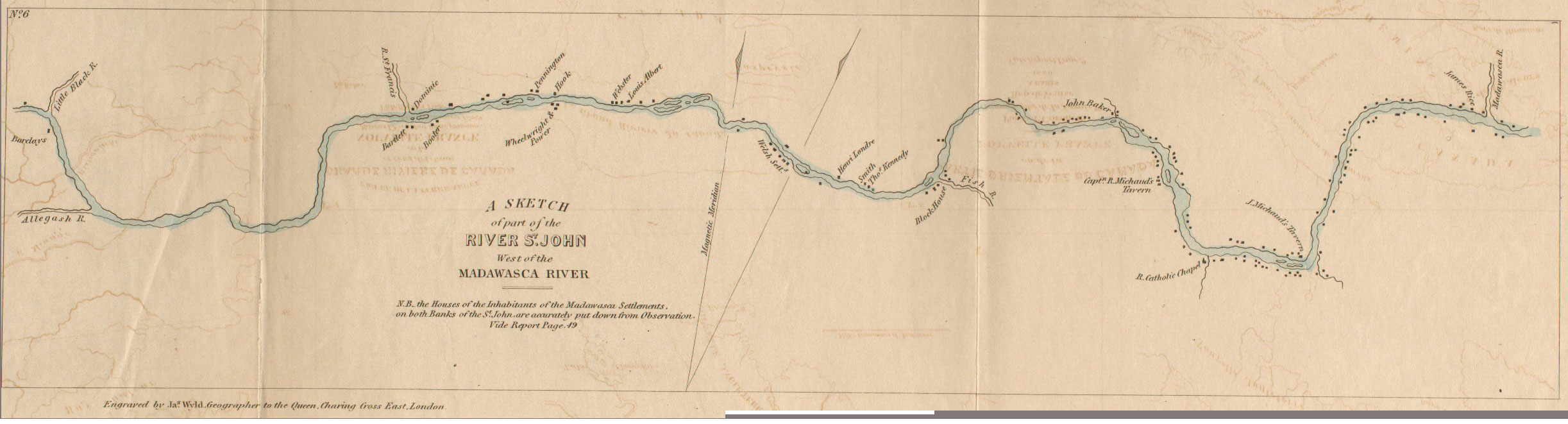 map of settlements along the Upper St.John from the Madawaska River to past the St. Francis; 1840 map
