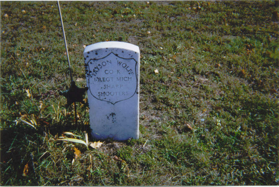 Grave Marker for Payson Wolfe, Cross Village Michigan