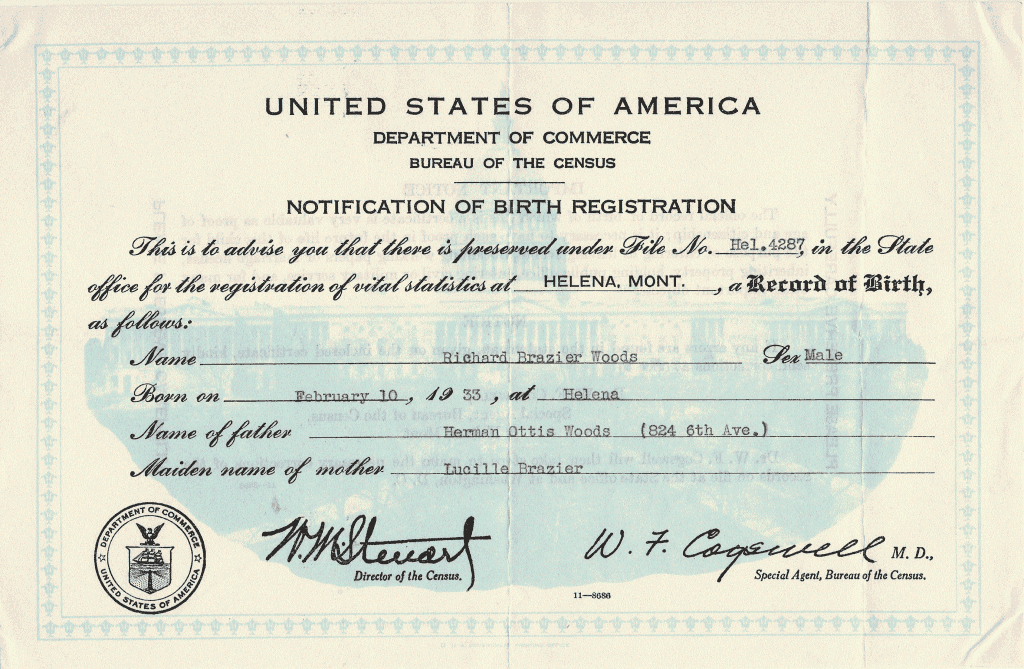 Woods, Richard Brazier birth certificate