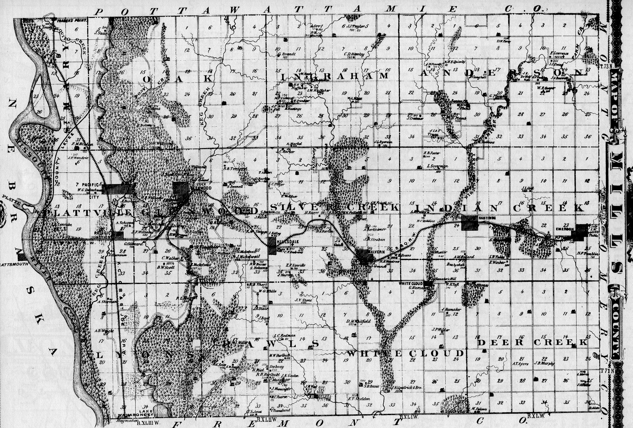Mills County Iowa Maps And Gazetteers - Iowa maps
