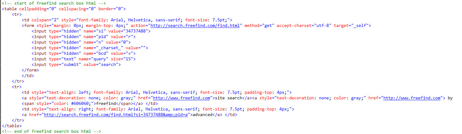 FreeFind Search Engine Code - Validating the FreeFind Search