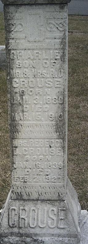Rebecca was born 16 Jan 1839 and died 2 Feb 1927, Catawba County, NC.