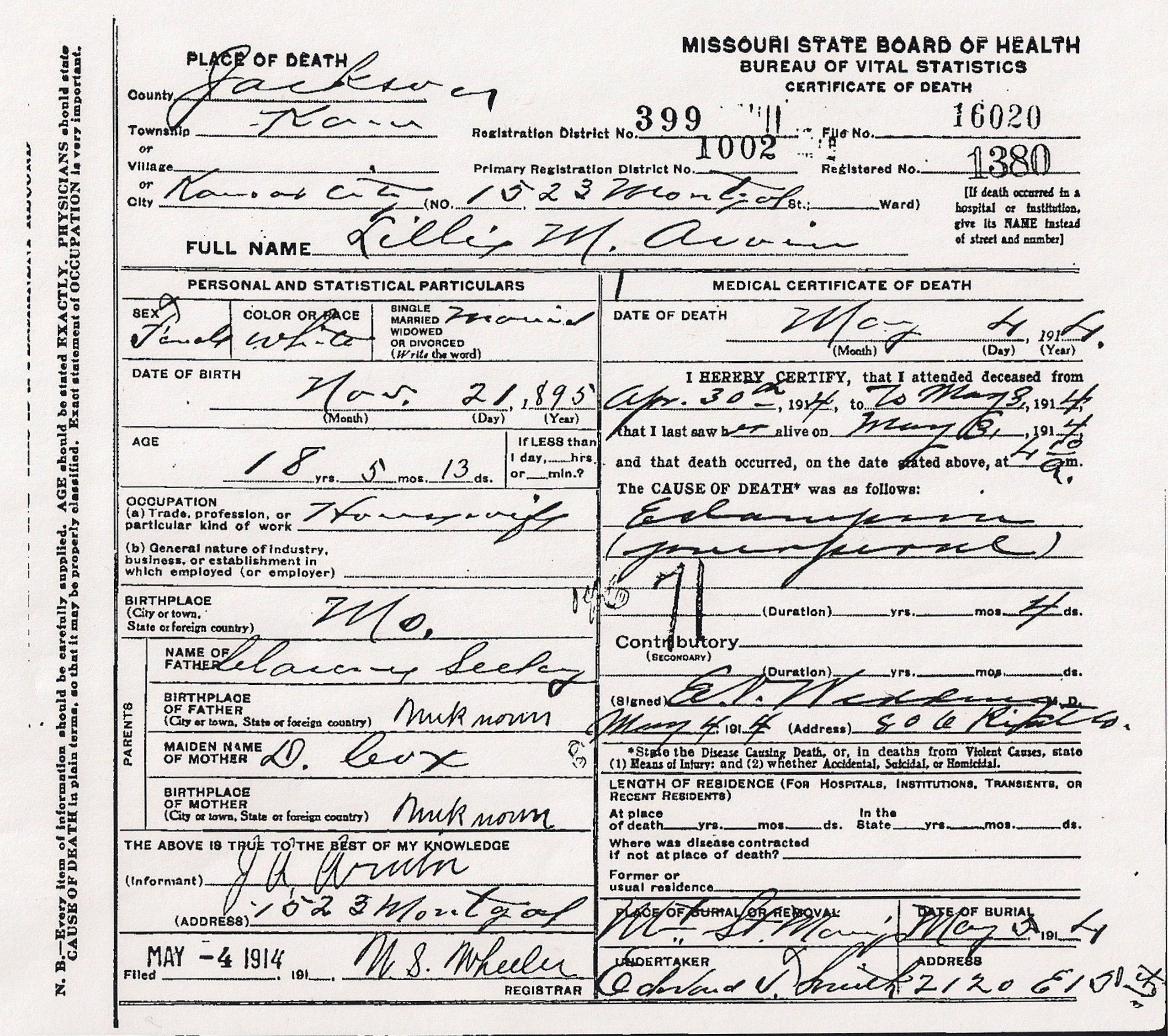Lillie Arvin Death Certificate Jpg