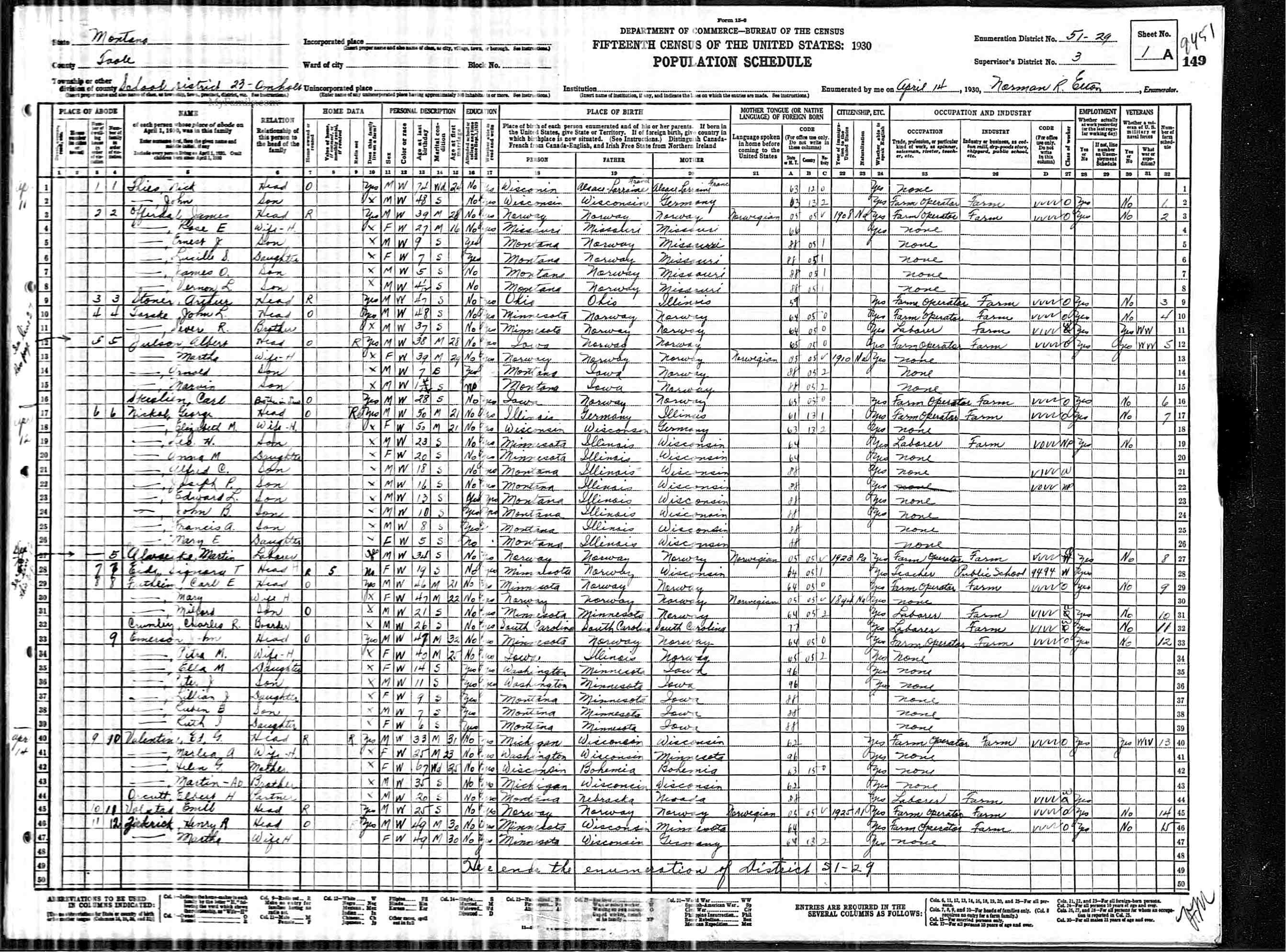 Montana pondera county ledger -  Pondera County Montana Marlea Valentine 1930 Census District 23 Toole County Montana