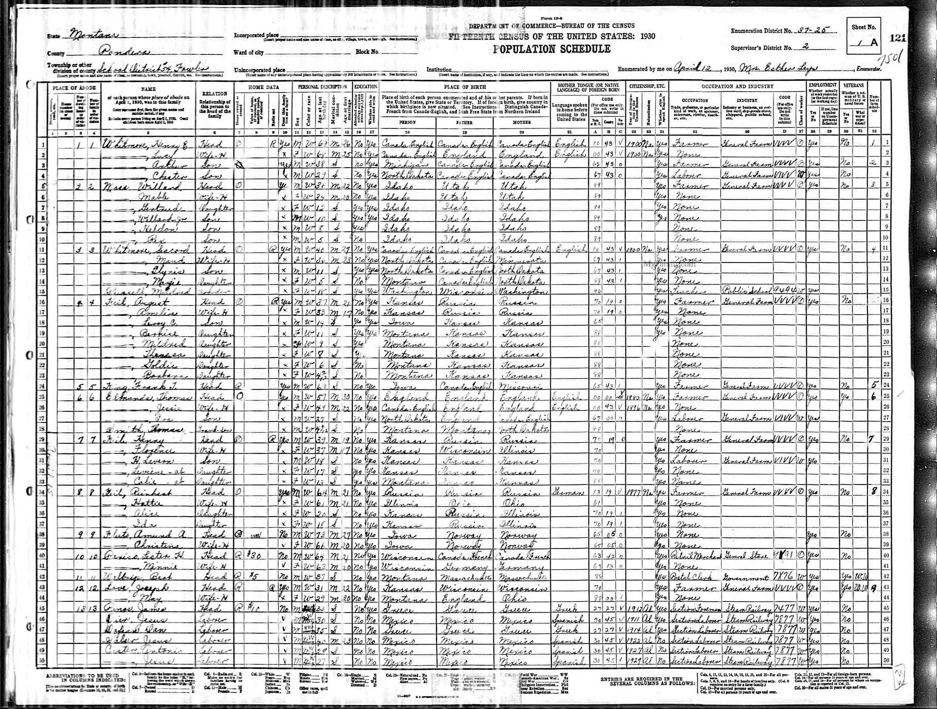 Montana pondera county ledger -  1930 Census Mildred Russell Fowler Pondera County Montana