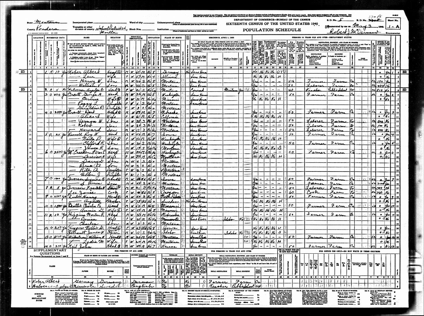 Montana pondera county ledger -  1940 Census Moulton Pondera County Montana Missing Mildred